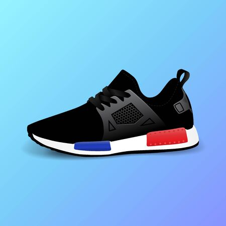 Realistic sport running shoe for training and fitness on gradient background, trendy black and red sneakers, vector illustration 向量圖像