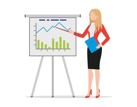 Businesswoman making flip chart presentation, pointing to graphs and diagrams, female coach trainer explaining business strategy, holding folder, flat style vector illustration