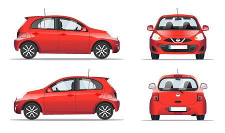 Red mini car side, front and back view, flat style. Template for web site, mobile application and Car sharing and rental advertising banner. Car isolated on a white background, vector.