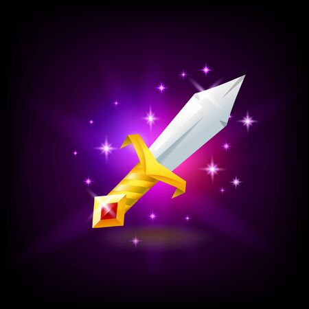 Magic sword with golden hilt with red gemstone slot machine icon, game design, vector illustration