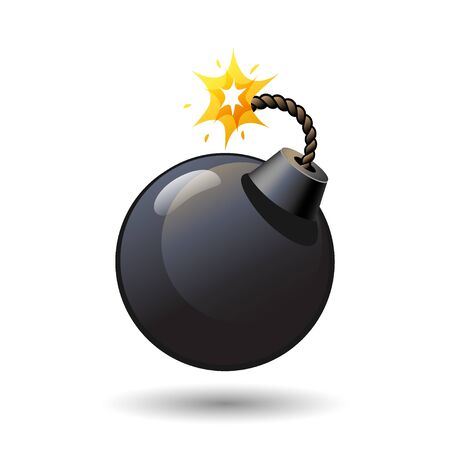 Black round bomb with burning fuse icon isolated on white background, arms, weapon, vector illustration