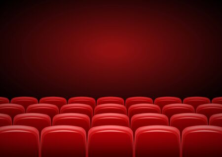 Cinema hall mock up with red seats, showtime, poster design, vector illustration