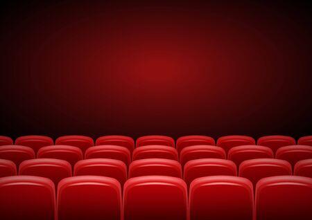 Salle de cinéma mock up avec sièges rouges, showtime, conception d'affiches, illustration vectorielle