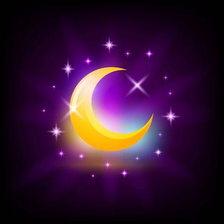 Night crescent Moon symbol, crescent icon for slot machine screen, gambling game design element, vector illustration