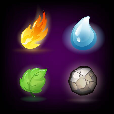 Four forces or nature elements - Water, Fire, Earth, Air. Design elements on dark background. Templates for renewable energy or ecology logos, emblems or cards. Alternative energy sources. Ilustrace