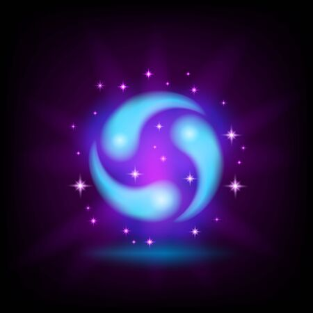 Three blue drops, swirl, water cycle icon for game or mobile apps design with sparkles on dark background, vector illustration