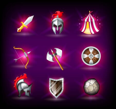 Medieval icons set, knight helmet, roman empire, legionnaires, tent, shield and weapons, bow and ax, catapult shell, round grey rock, vector illustration
