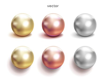 Set of pearl silver, pink and gold spheres with glares icons isolated on white background, vector illustration Illustration