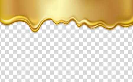 Golden flowing liquid texture, isolated on transparent background. Gold honey, syrup, oil, paint or metal dripping, 3D realistic vector illustration