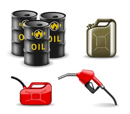Oil and gas related items design set. Fuel industry collection in realistic style - Barrel of oil, gas canister, hose, car refueling fueling gun vector