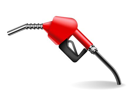 Red gasoline pump nozzle isolated on white background. Car refueling fueling gun vector illustration in realistic style. Power and energy concept Stock Illustratie