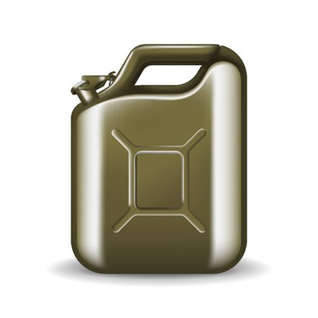 Green canister of engine oil or petroleum isolated on white. Container with fuel vector illustration in realistic style. Power and energy concept