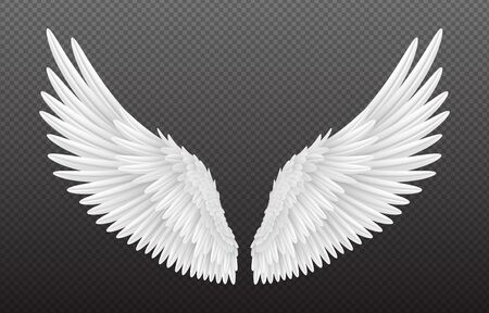 Pair of beautiful white angel wings isolated on transparent background, 3D realistic vector illustration. Spirituality and freedom concept Stock Illustratie