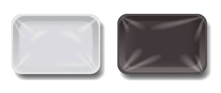 Plastic trays set isolated 3D design. Food packaging with transparent wraps mockup. Black and white empty containers vector illustration in realistic style