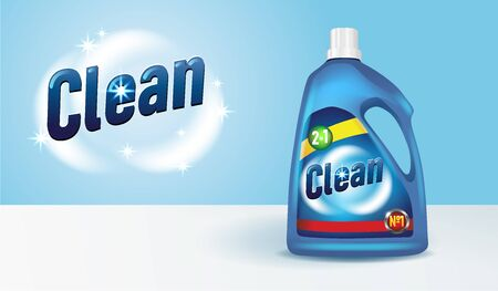 Bottle of detergent with label 3D mockup. Cleaning product realistic design. Liquid washing supply advertisement, vector illustration