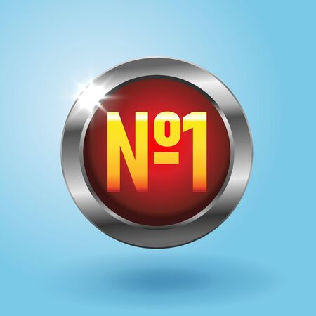 Number one circular red button on blue background, Best choice icon. Finest price badge, vector illustration in realistic style Stock Illustratie
