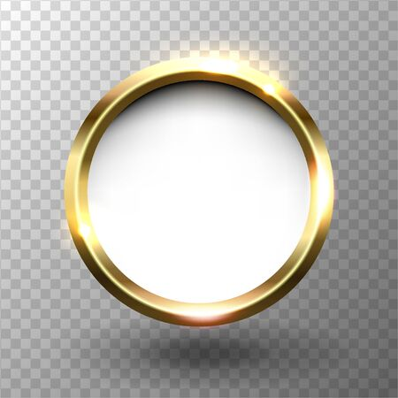 Abstract shiny golden circle frame with space for text, on transparent background, vector illustration