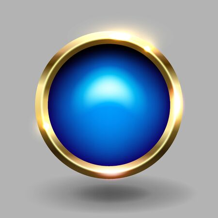 Blue shiny circle blank button with gold metallic frame, vector element for web and game app.