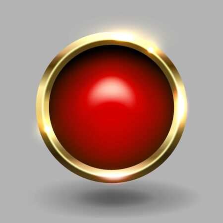 Red shiny circle blank button with gold metallic frame, vector element for web and game app.