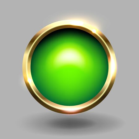 Green shiny circle blank button with gold metallic frame, vector element for web and game app. Stock Illustratie
