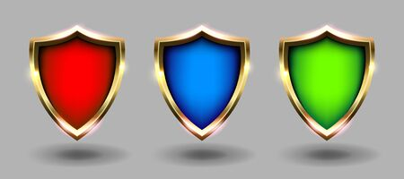 Colorful shields set, grey background. Red, blue and green coats of arms realistic vector illustrations. Security and protection concept Stock Illustratie