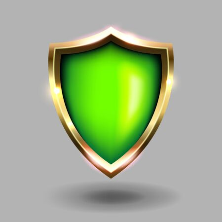 Green and gold shield icon on grey background. Green coats of arms realistic vector illustrations. Security and protection symbol.
