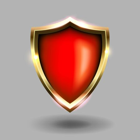 red and gold shield icon on grey background. Green coats of arms realistic vector illustrations. Security and protection symbol.