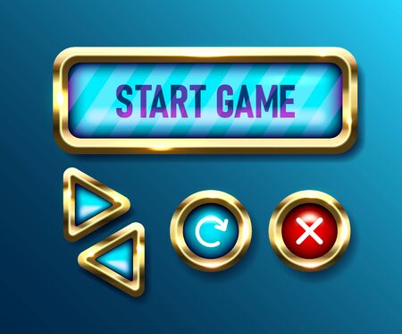 Realistic game buttons set on blue background. Mobile gui designs collection. User interface navigation knobs, vector illustrations Stock Illustratie