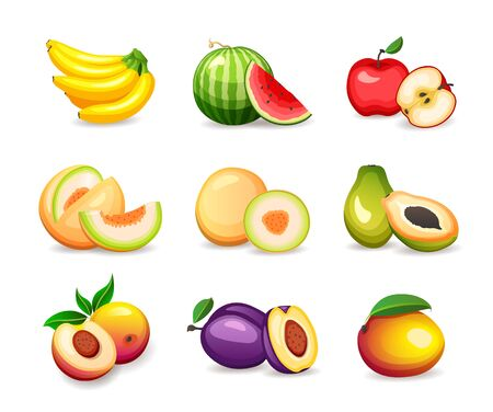 Set of different tropical fruits isolated on white background, vector illustrations in flat style. Healthy nutrition concept