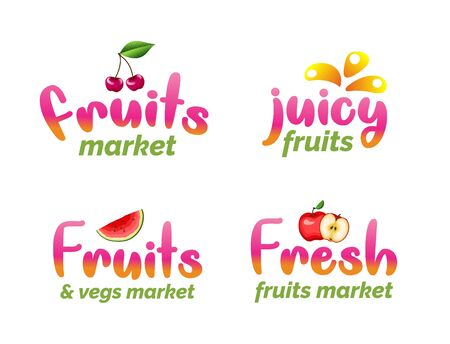 Fruits market lettering set. Juicy organic foods typography stickers. Fresh harvest isolated vector illustrations in flat style