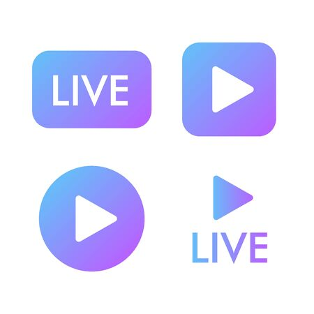 Live stream violet icon on a white background. Blogger streaming online symbol.. Play button icon vector illustration