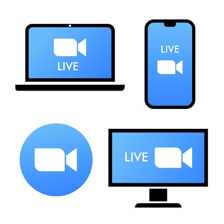 Blue camera icon - Live media streaming application on different devices - laptop, smartphone, tv, tablet, monitor, conference video calls with several people at the same time vector icon  .