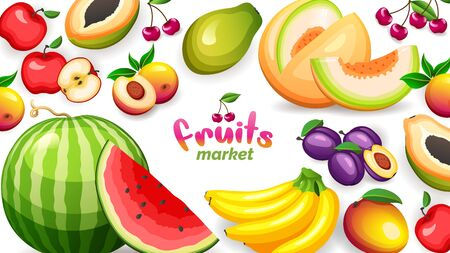 Banner with different tropical fruits market, vector illustrations in flat style. Healthy nutrition concept