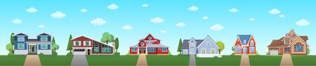 Modern cottage house set with blue sky and clouds. Real Estate ssite banner concept. Flat Vector illustration.
