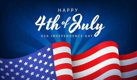 US independence day banner or poster with national flag on blue background, vector illustration. Creative 4th of July greeting card Ilustração Vetorial