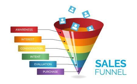Business infographics with six stages of sales funnel on white background, vector illustration. Internet and social media marketing concept