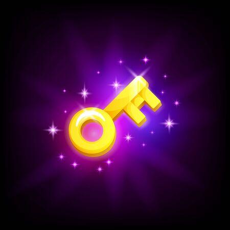Golden key mobile game icon password symbol on dark background. Mobile app GUI vector design element in cartoon style Illusztráció