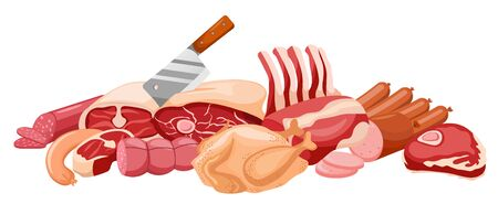 Meat banner vector Fresh meat banner isolated on white. Meat set