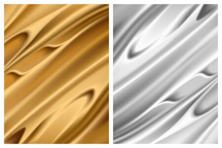 Set of silver and gold foil textures, metallic shiny surfaces. Sparkling fabric with folds, vecor illustration in realistic style