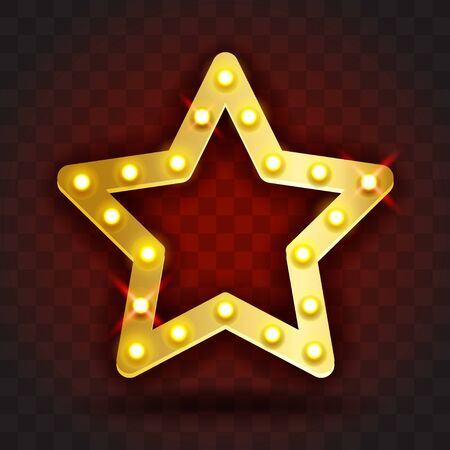 Retro SHOW TIME star frame signs realistic vector illustration. Gold star frame with electric bulbs for performance, cinema, entertainment, casino, circus. Transparent background.