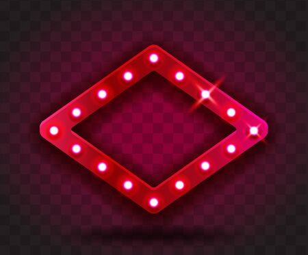 Retro SHOW TIME rhombus frame signs realistic vector illustration. Red rhombus frame with electric bulbs for performance, cinema, entertainment, casino, circus. Transparent background.