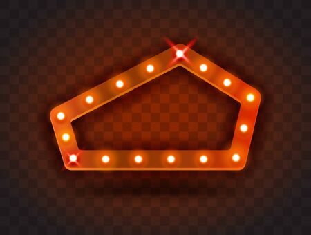 Retro SHOW TIME pentagon frame signs realistic vector illustration. Red pentagon frame with electric bulbs for performance, cinema, entertainment, casino, circus. Transparent background. Illusztráció
