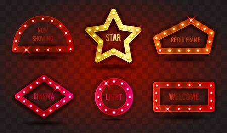 Retro SHOW TIME signs realistic vector illustration set. Collection of frames with electric bulbs for performance, cinema, entertainment, casino, circus. Color transparent background