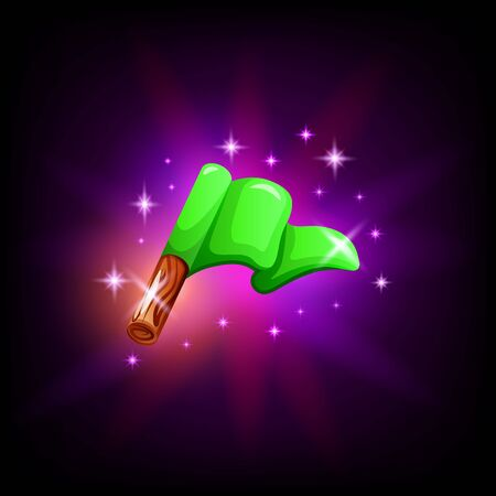Green flag on pole gui element for game or mobile application design on dark background. Start or finish vector icon in cartoon style.