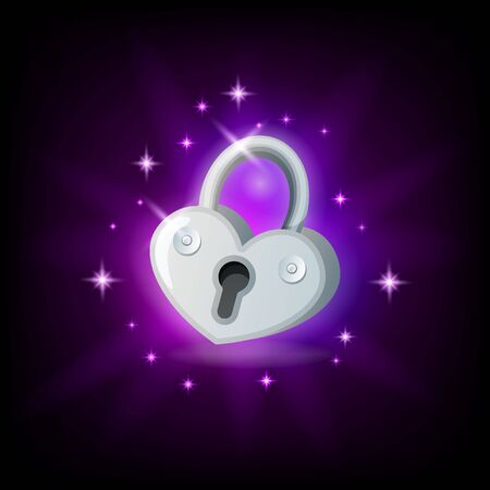 Video game icon with silver sparkly padlock on dark background, vector illustration for graphic user interface in cartoon style Illusztráció