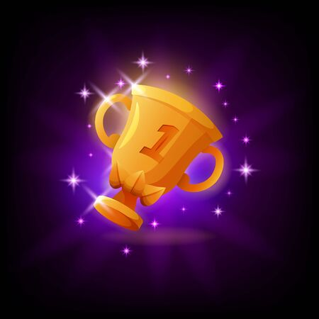 Gold cup trophy GUI gaming or mobile app icon on dark background. First place prize vector illustration in cartoon style