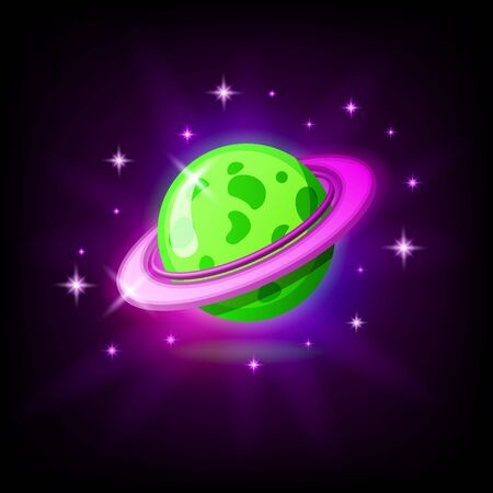 Green planet with rings icon for game or mobile app against dark background. Alien world vector illustration in cartoon style
