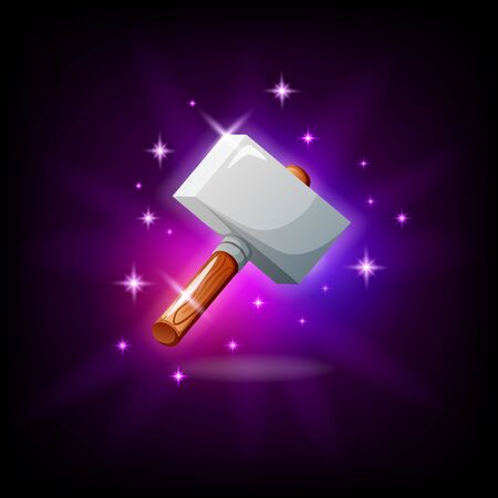 Hammer with sparkles graphic user interface icon, dark background. Fantasy weapon mobile app or video game pictogram. Vector illustration in cartoon style
