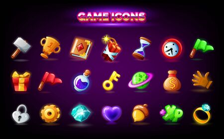 Mobile game icons set. GUI elements for mobile app, vector illustration in cartoon style - Spell book, gift, key, acorn, gear settings, red finish flag, clock alarm time, purple magic potion