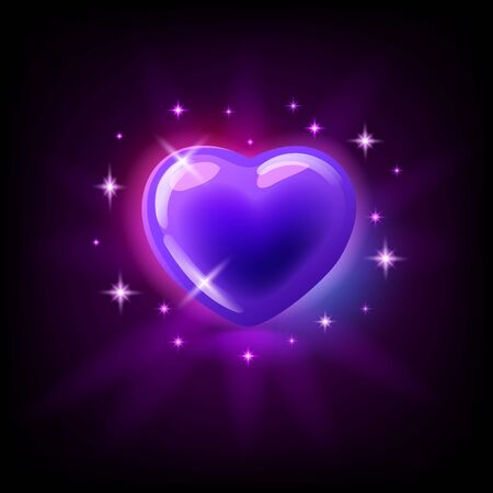 Bright purple glossy heart with sparkles, slot icon for online casino   for mobile game on dark purple background, vector illustration.